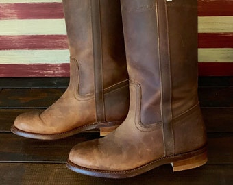 b28501c17524e LEVIS White Tab Vintage 70s Brown Leather Cowboy Boots Women's Size 6B