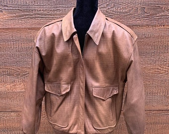 4e45107b7ff0 IZZI LEATHERS Vintage 80s Brown Leather Flight Bomber Jacket Men's Medium