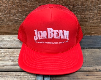 ff026fa8a50 JIM BEAM Kentucky Bourbon Vintage 80s Red Snapback Trucker Hat