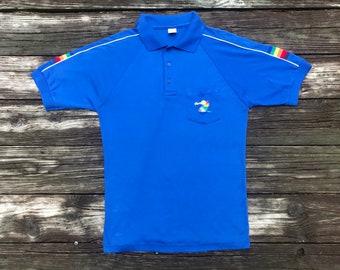 Polo Shirt    HAWAII    Waikiki Beach Sportswear    Vintage    1980s     Ultra Soft    Rainbow    Fits Like Men s M    Rebel Fray Vintage 646f2e25af8e