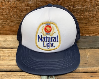 NATURAL LIGHT Beer Vintage 80s Navy Blue   White Snapback Trucker Hat c8e470f07711