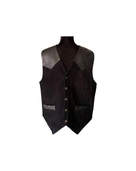 Leather Vest   Saguaro West   Black Leather Vest  