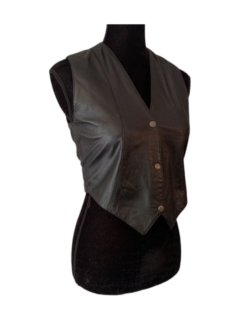90s Leather Vest Black Leather Top Motorcycle Vest Leather Crop Top