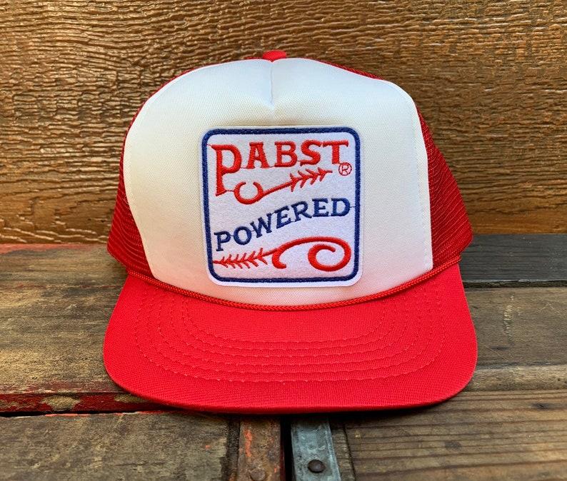 fb24b3b31 PABST Blue Ribbon PBR Beer Vintage 80s Red & White Snapback Trucker Hat