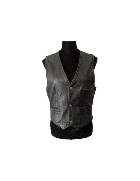 Leather Vest   Berman's   Motorcycle Vest   Black