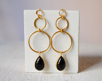 Hoop Earrings With Stones/Statment Earrings/Sterling Silver Goldplated/Natural Stones Black agate/Lapis Lazuli/handmade/handcrafted/hoops