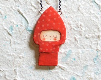 Necklace Little Red Riding Hood, illustration, papermache, dots, entirely handmade, for dreaming and imagination