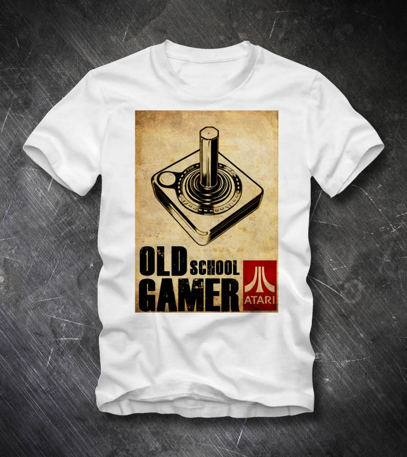OLD SCHOOL T-shirt Gamer Computer Games Atari 2600 Joystick C64 C128 Floppy  Disc Datasette 8 Bit Pixel Retro Games Vintage 80s 90s Commodore