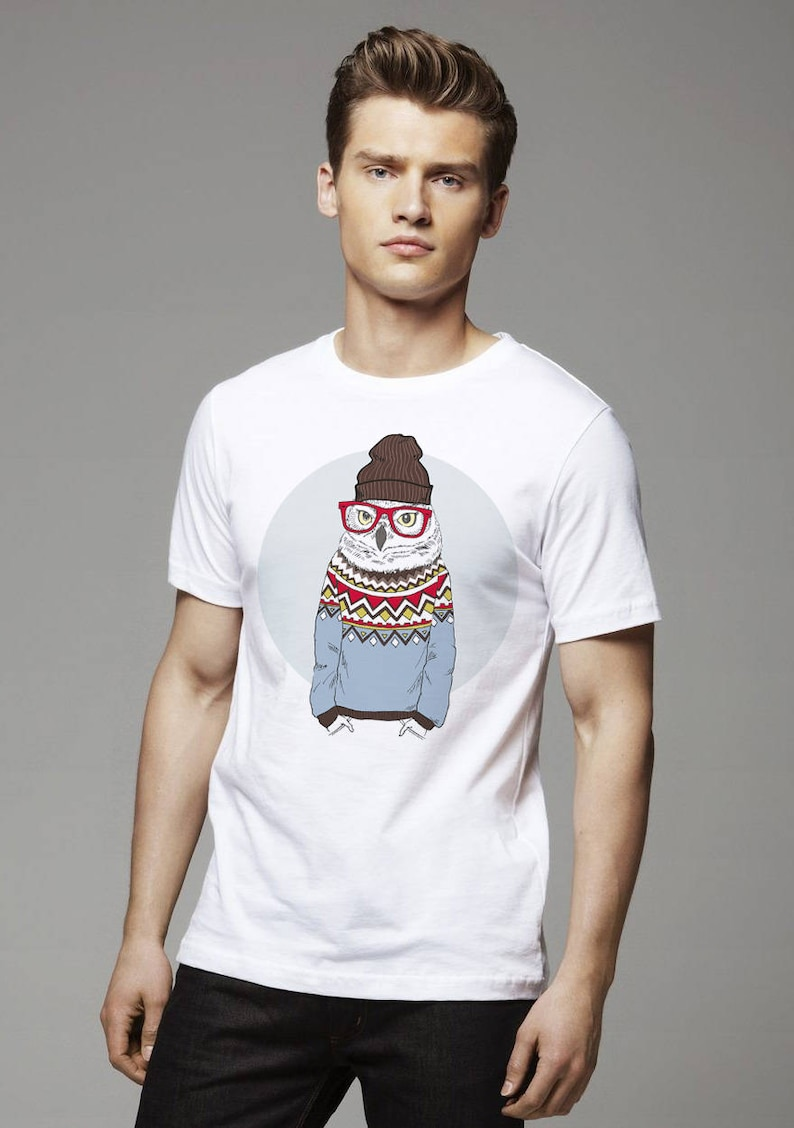 Hipster Owl T Shirt In Jacquard Pullover Wearing Beanie and Glasses Anthropomorphic Animal Art Trendy Hipster T Shirt Style Creative Design