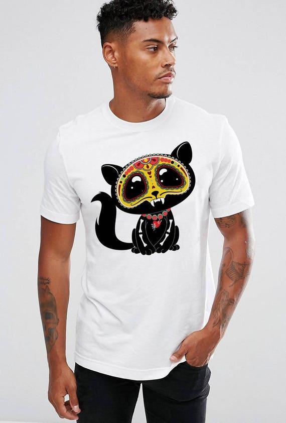 cdbc991e0 Day of the DEAD Cat T Shirt Dia de los Muertos Cat Shirt Skull | Etsy