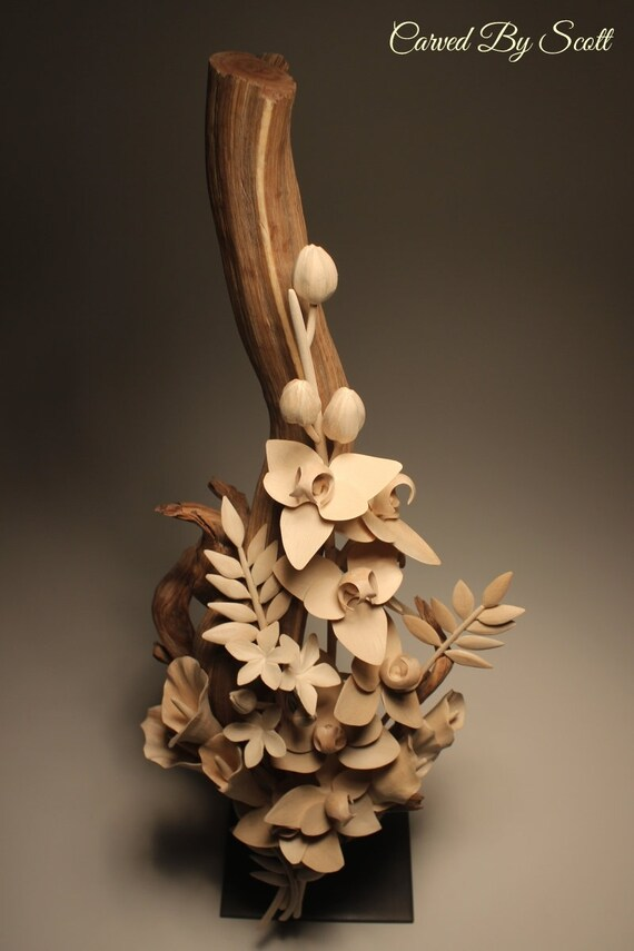 handmade flower bouquet wood flowers hand carved wooden etsy