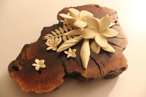 handmade flower display carved wood flowers plumeria etsy