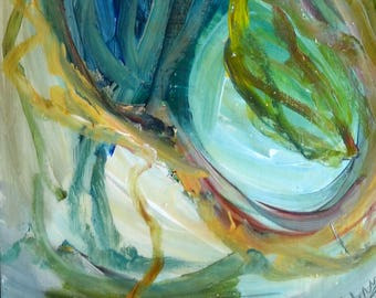 Matrice. Abstract painting Acrylic on wood. 103 x 27 cm