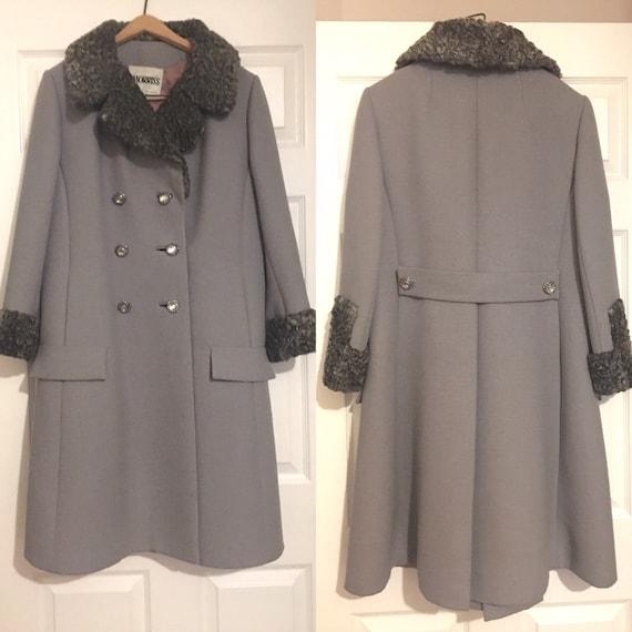 vintage 60's grey heavy wool and fur dress coat, v