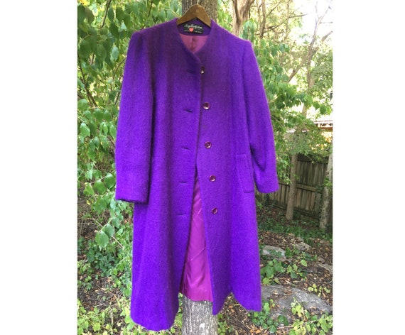 Vintage purple coat, George David vintage mohair c