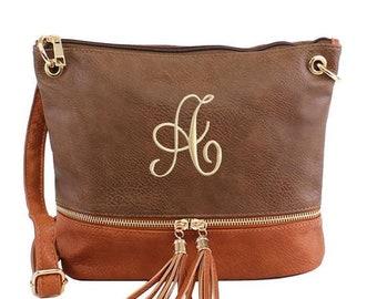 812c8f1bc Monogrammed Crossbody Bag, Pesonalized Tassel Crossbody, Monogrammed Handbag,  Leather Crossbody, Great Gift, Two Toned Handbag, Quick Ship
