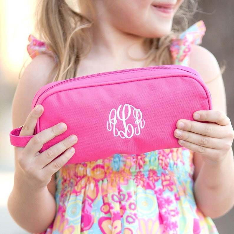 Girls Gift School Days Monogrammed Girls Hot Pink Pencil Case Travel Case Personalized Pencil Case Girls Toiletry Bag
