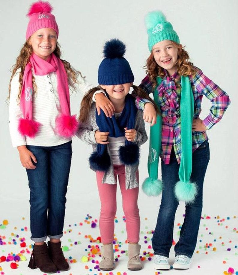 78cdd67fd7a1f Monogrammed Girls Pom Pom Hat and Scarf Personalized Pom Pom