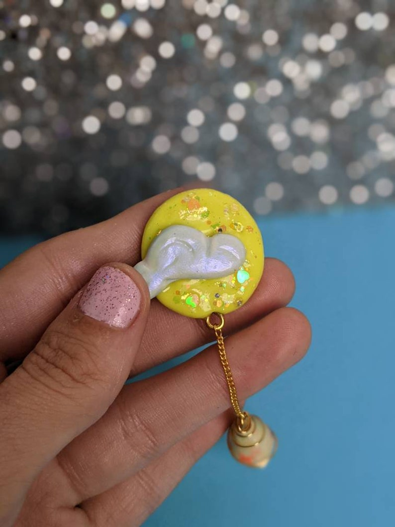 Glitter Moon Wire-Wrapped Bead Bright Drop Cloud Dancing Pin