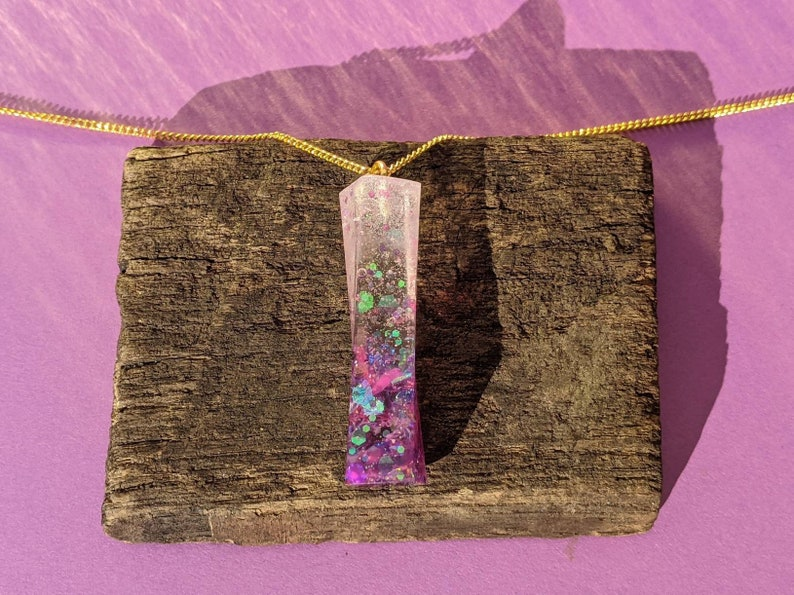 Simple Pink and Purple Holographic Glitter Pendant Necklace