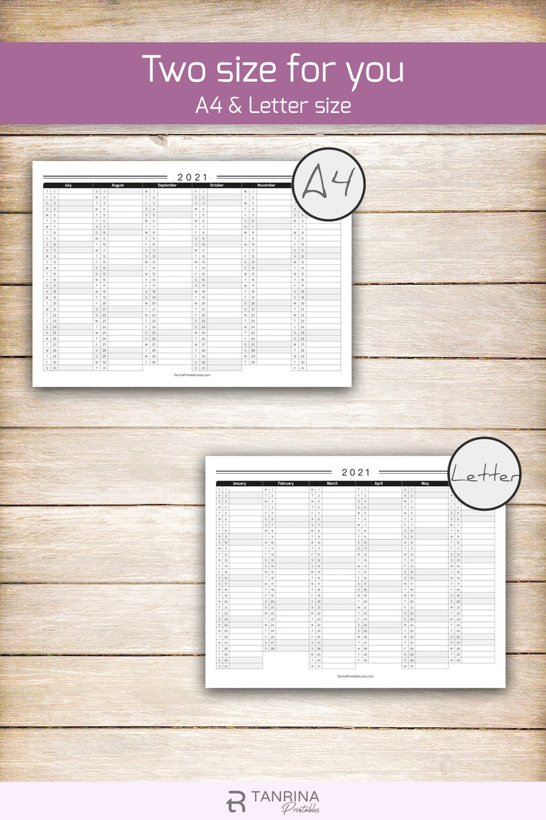 Printable 2021 Calendar Planner Minimalist Half Year Wall ...
