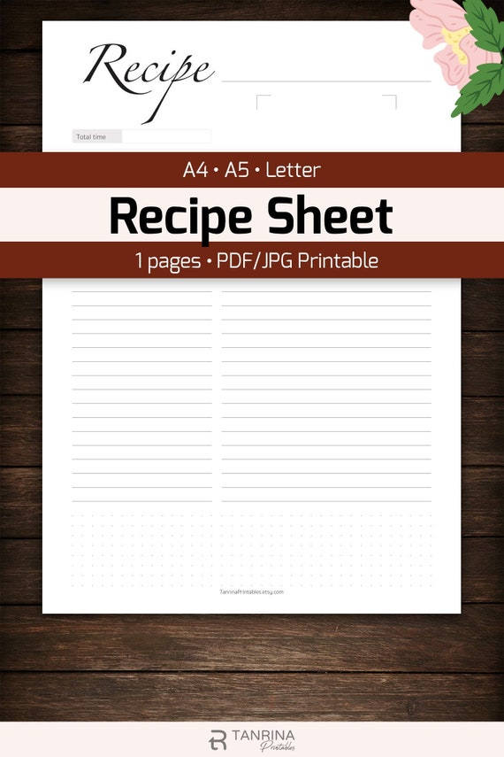 Blank Recipe Sheet Printable For Family Homemade Cookbook Kitchen Meal Planner Page Template Recipe Card Food Journal Inserts