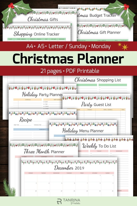 2020 Easy Printable Christmas Organizer Christmas Planner Printable 2020 Holiday Planner KIT A4 A5 | Etsy