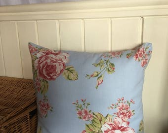 Vintage floral/shabby chic roses blue Cushion