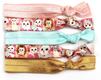 Princess Kitty Elastic Hair Ties, Cat Hair Ties, Elastic Hair Ties, Ponytail Holder, Hair Ties, No Crease Hair Ties, Hair Accessories, Hair