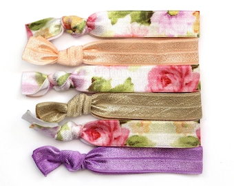 Victorian Rose Elastic Hair Tie, Vintage Floral Hair Tie, Elastic Hair Ties, Ponytail Holder, Hair Tie, No Crease Hair Tie, Hair Accessories