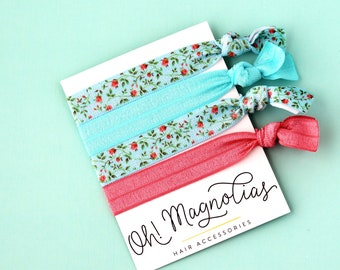 Aqua Poppy Elastic Hair Tie Pack 8443f4f6bdb