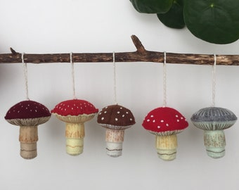 Felt mushrooms, mushroom ornaments.