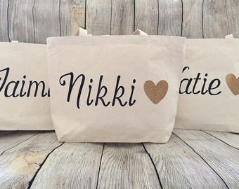 XL Custom Canvas Totes Perfect for bridesmaids gifts/beachbags