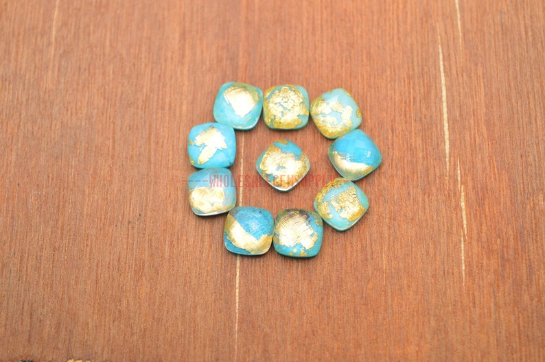 Turquoise Gemstone Turquoise Rock Crystal Doublet Faceted Cushion Cabochon 3 Pcs #4149 10x10 MM Turquoise Crystal Doublet Cabochon