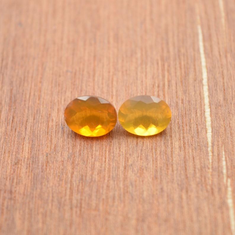Mexican Fire Opal Gemstone Cut Fire Opal Stones #4357 9x7 MM Mexican Fire Opal Cut Stones Mexican Fire Faceted Oval Cut Stones
