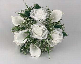 Artificial wedding bouquets bridesmaids silk rose gypsophila