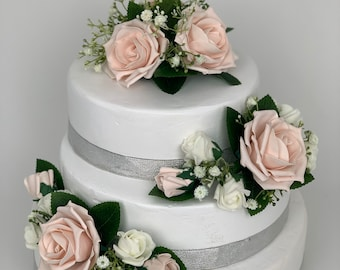 Wedding flowers cake topper roses 3 pieces tier bouquets