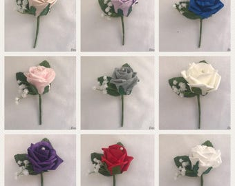 Wedding buttonhole corsage grooms groommen guests buttonholes pink grey red blue