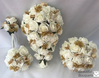 Artificial wedding bouquets flowers sets ivory Gold