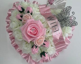 Artificial Flowers Heart Wreath Funeral Tribute Memorial nan , mum , dad