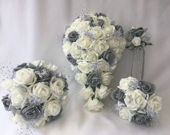 Artificial wedding bouquets flowers sets grey
