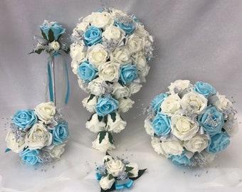 Artificial Wedding Bouquets Flowers Sets Ivory Aqua Blue