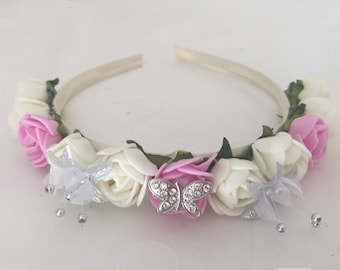 Wedding bridesmaids flower girl satin headband made with rose flowers and butterfly