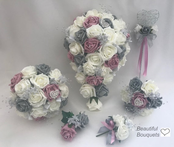 Artificial wedding bouquets flowers sets ivory dusky pink