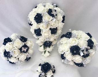 Artificial wedding bouquets flowers sets ivory navy