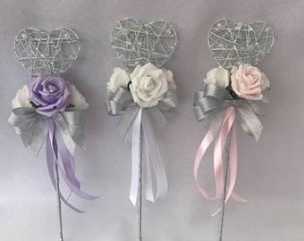 Heart wedding flower girl wand with flowers