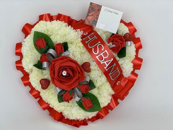 Artificial silk funeral flower heart wreath memorial tribute mum sister grave