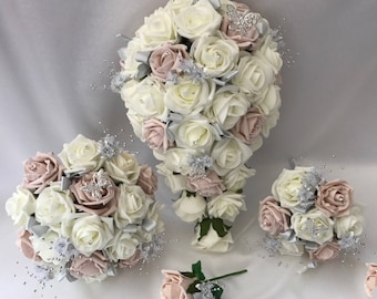 Artificial wedding bouquets flowers sets ivory blush pink