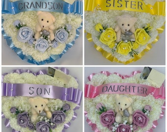 funeral Tribute Memorial wreath teddy grave Artificial Flower round with roses blue or pink
