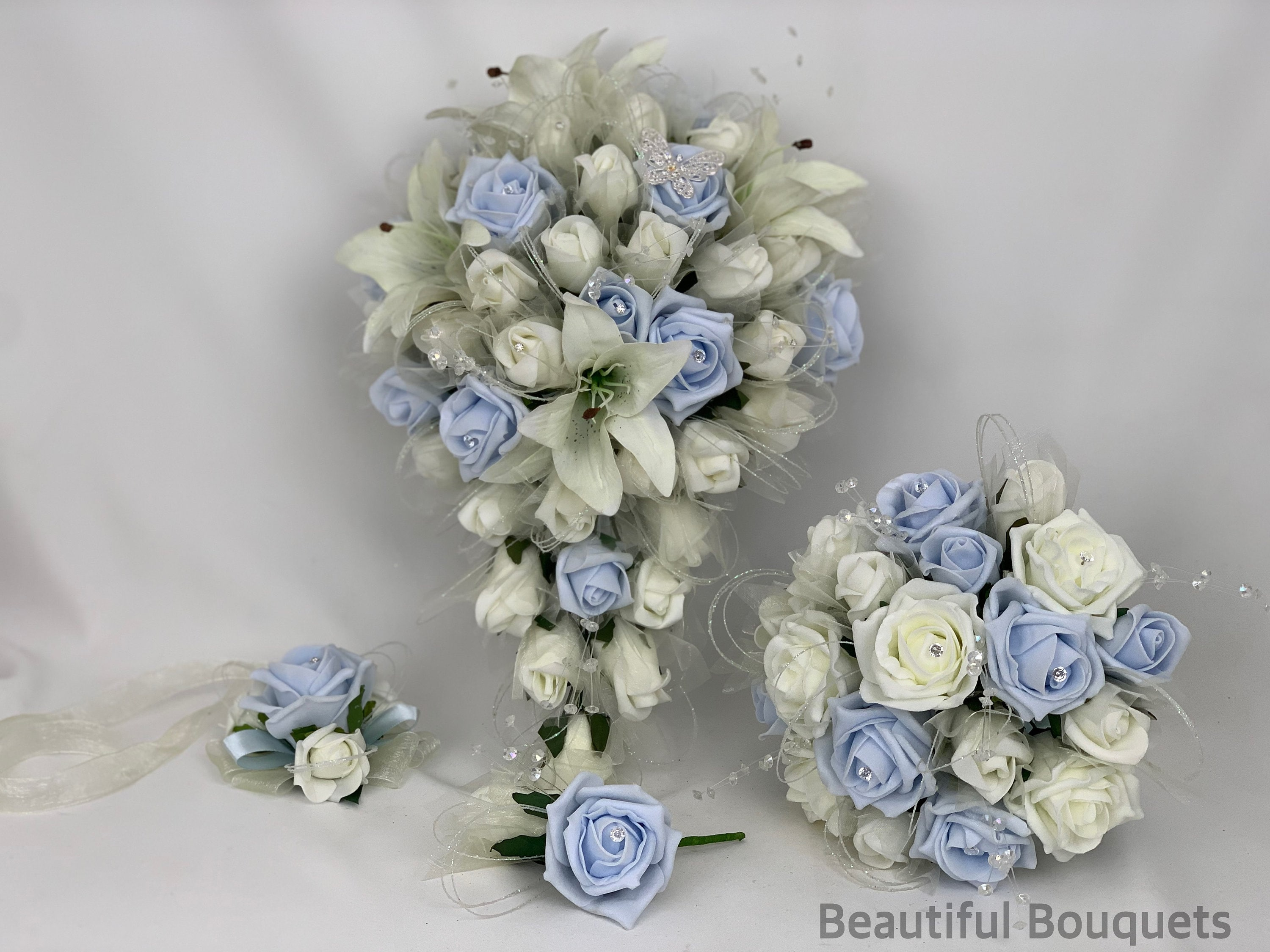 artificial wedding bouquets flowers sets ivory baby blue